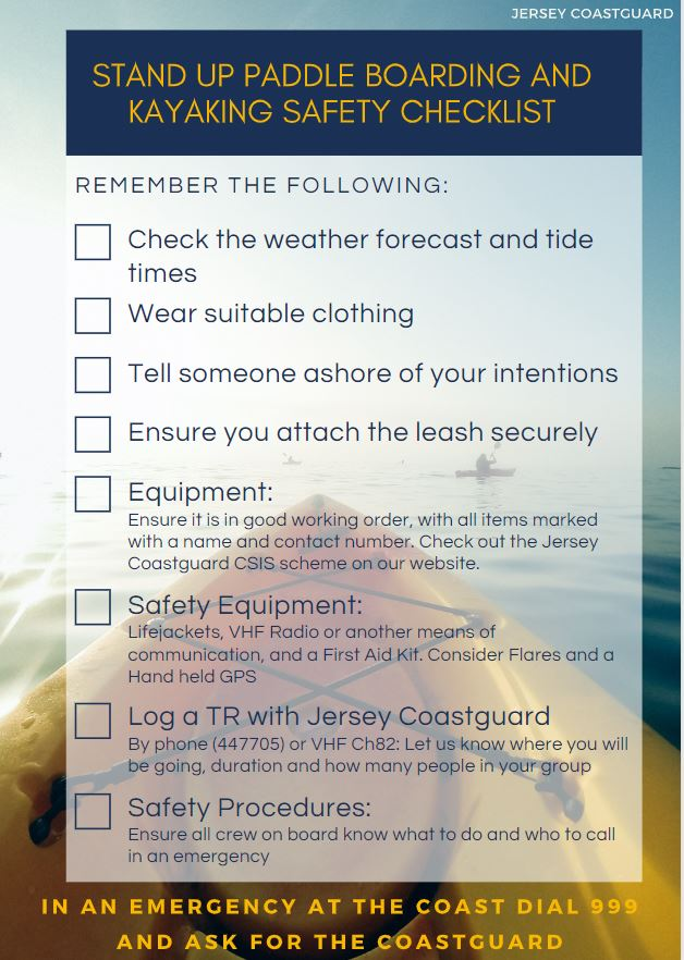 SUP and kayak safety checklist